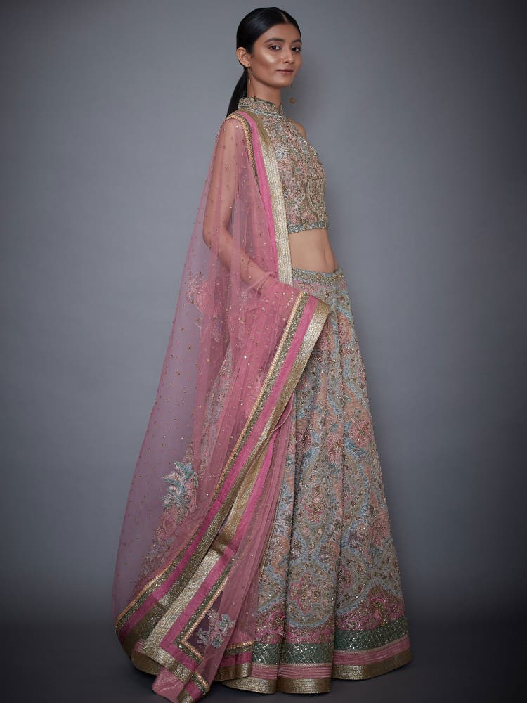 Off White & Pink Embroidered Lehenga Set