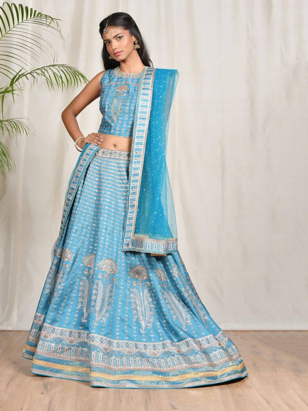 Turquoise Embroidered Lehenga Set