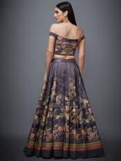 Charcoal Black & Peach Jane Austin Lehenga Set
