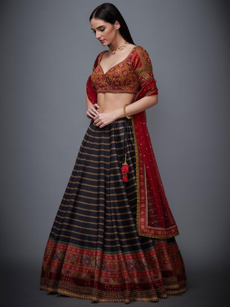 Black Madhuhira Lehenga Set