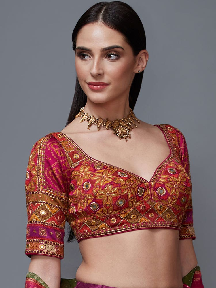 Fuschia & Multi colour Madhuhira Embroidered Blouse