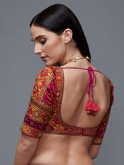 Fuchsia Madhuhira Silk Saree With Stitched Blouse