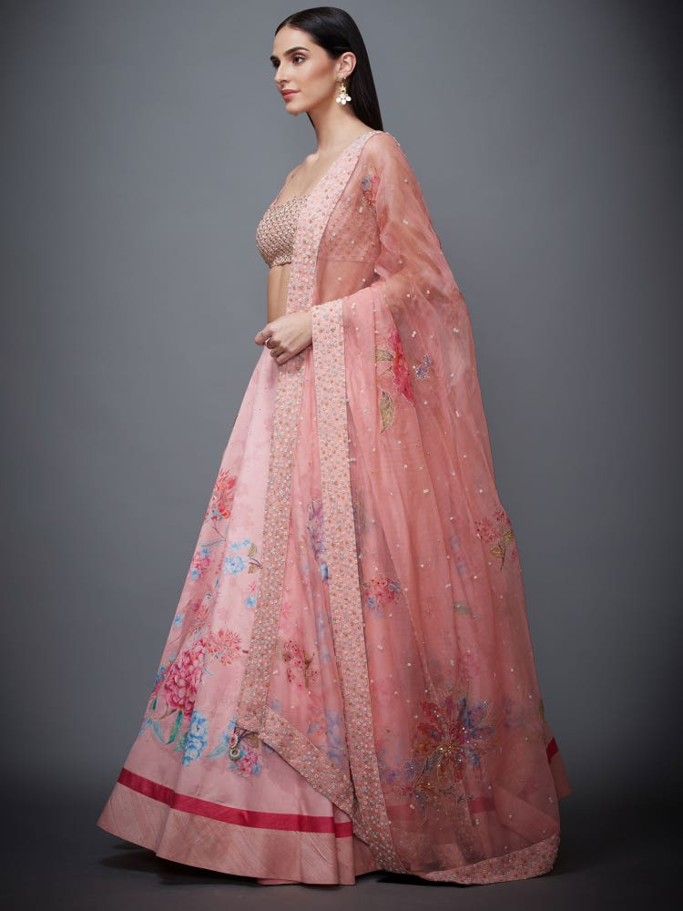 Pastel Pink Hortensia Floral Print Lehenga