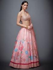 Pastel Pink Floral Print Lehenga