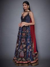Black & Indigo Water Color Embroidered Lehenga With Dupatta