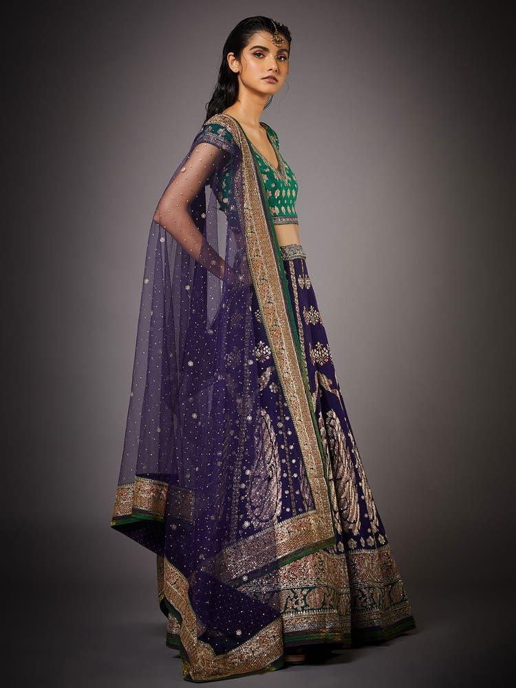 Purple & Emerald Parampara Silk Lehenga Set
