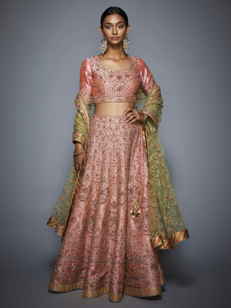 Pink & Mint Green Embroidered Lehenga Set