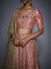Pink & Mint Green Marakesh Embroidered Lehenga Set