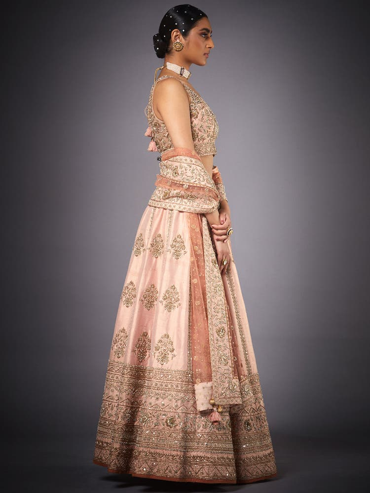 Peach Embroidered Muktika Lehenga Set
