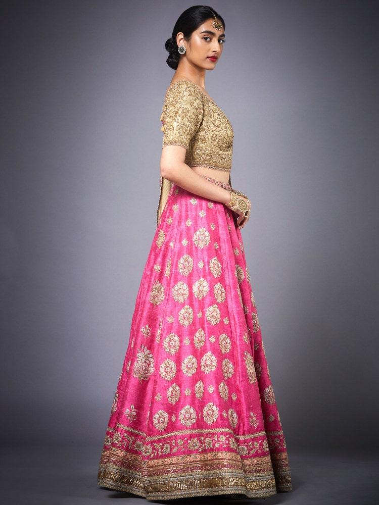 Fuchsia Pink & Golden Agora Jasmine Embroidered Lehenga Set