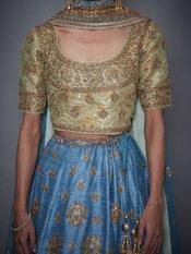 Sea Green & Turquoise Agora Jasmine Embroidered Lehenga Set