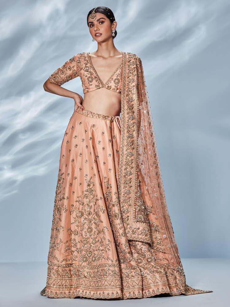 Peach & Gold Jayita Embroidered Lehenga Set