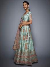 Aahana Kumra in a Blue & Pink Embroidered Lehenga Set