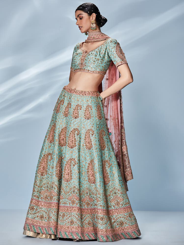Aahana Kumra in a Blue & Pink Embroidered Lehenga Set