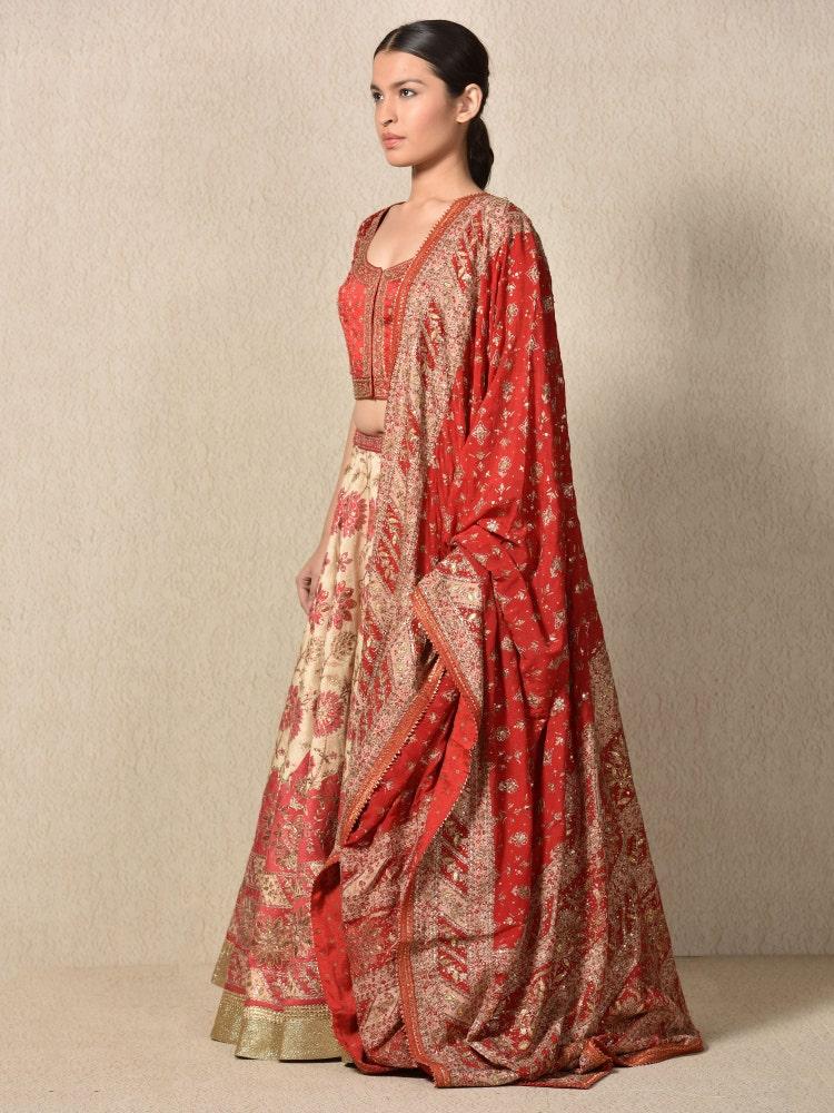 Beige & Red Prasad Embroidered Lehenga With Dupatta