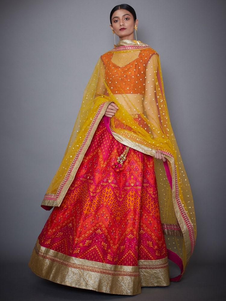 Fuchsia & Orange Farshi Embroidered Lehenga Set