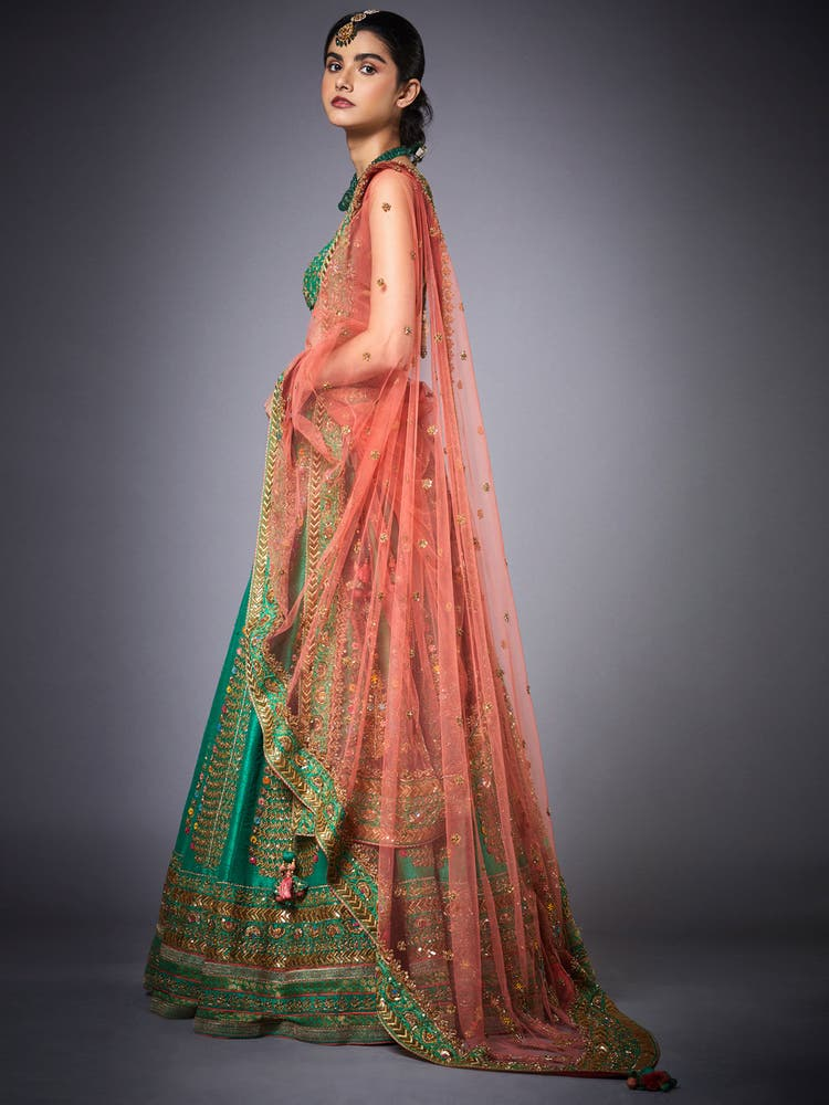 Green & Peach Surya Embroidered Lehenga Set