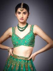 Green & Peach Surya Embroidered Lehenga Set