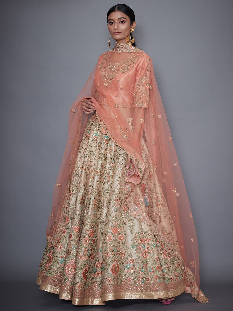 Ivory & Pink Embroidered Lehenga Set