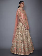 Ivory & Pink Guncha Embroidered Lehenga Set