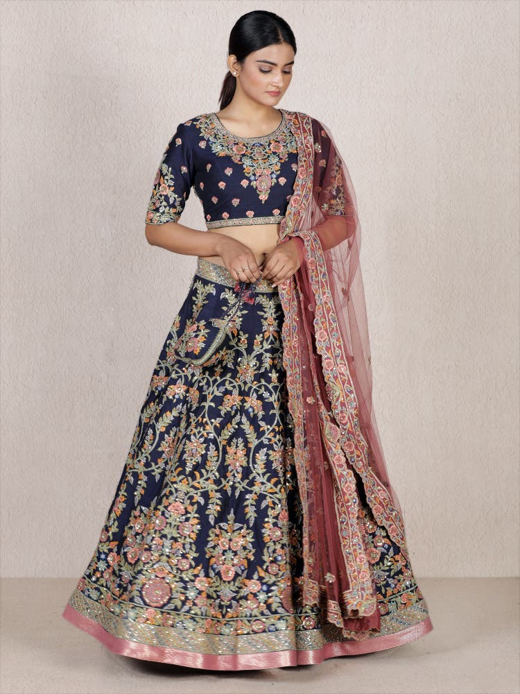 Navy Blue Embroidered Lehenga Set
