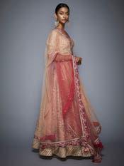 Peach & Pink Embroidered Lehenga Set