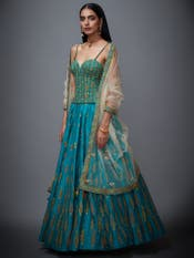 Jade Green & Beige Begum Embroidered Lehenga Set