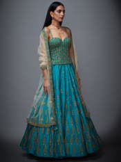 Jade Green & Beige Embroidered Begum Lehenga Set