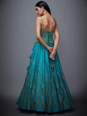 Jade Green & Beige Begum Embroidered Lehenga Set