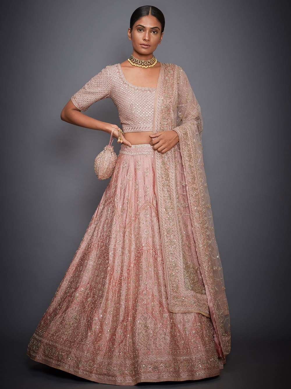 Peach Tania Floral Embroidered Lehenga Set