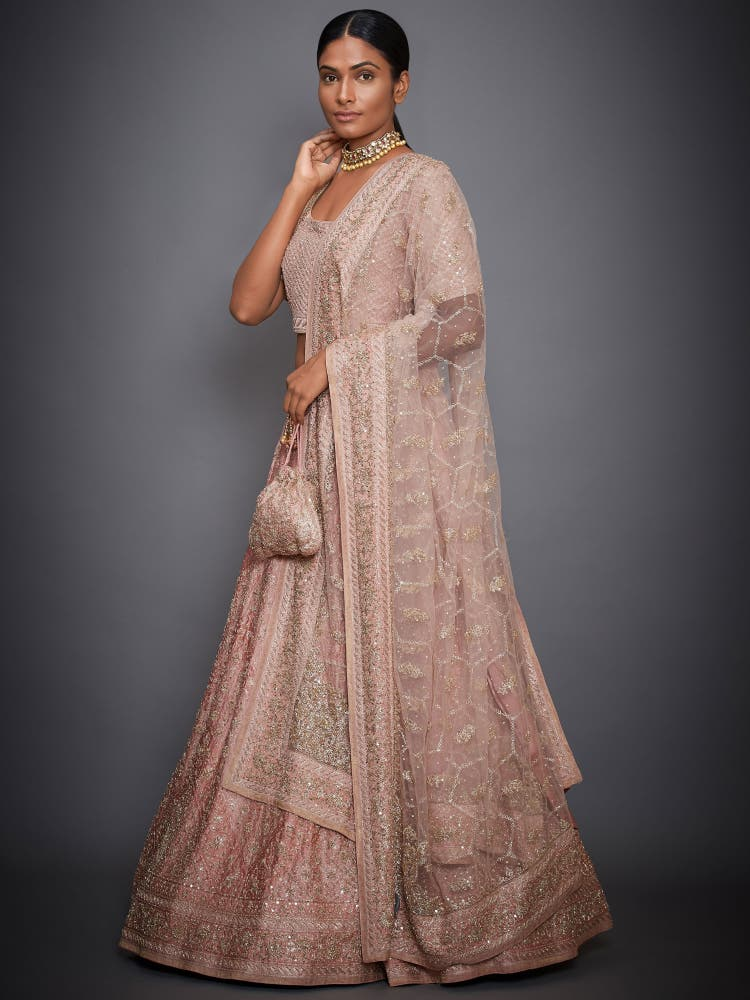 Peach Floral Embroidered Lehenga Set