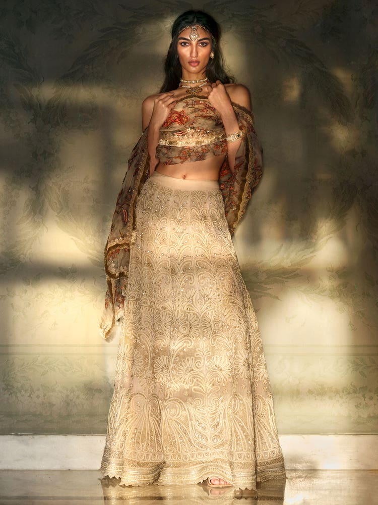 Ivory Florance Embroidered Lehenga Set