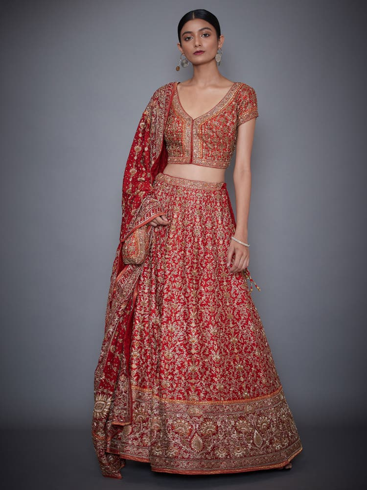 Red Embroidered Lehenga With Dupatta