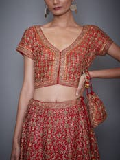 Red Aditi Zardozi Embroidered Lehenga With Dupatta