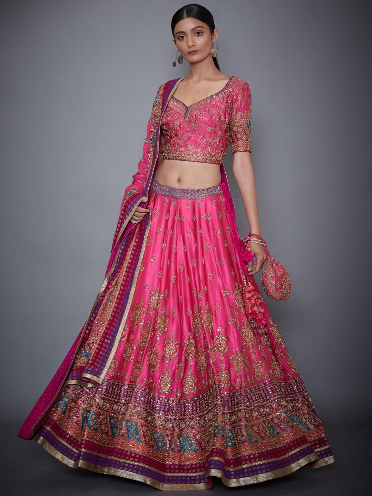 Fuchsia & Purple Bridal Zardozi Lehenga Set