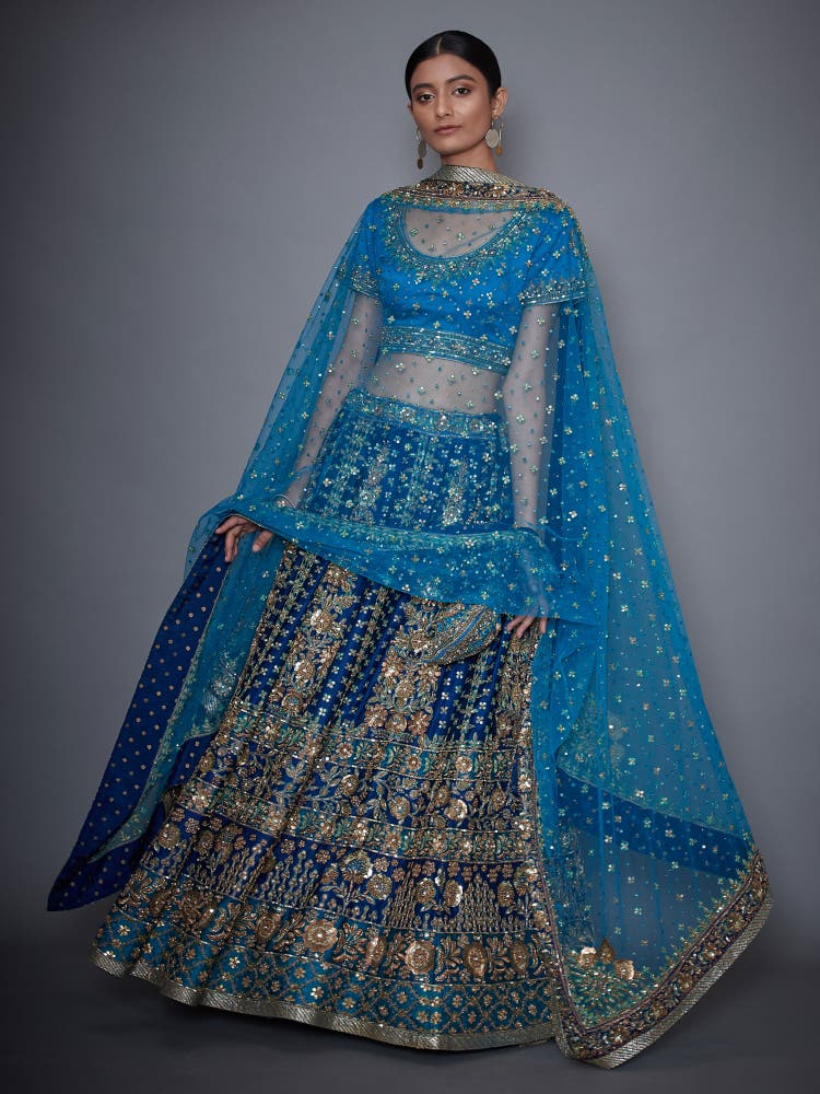 Royal Blue & Turquoise Gauri Zardozi Embroidered Lehanga Set