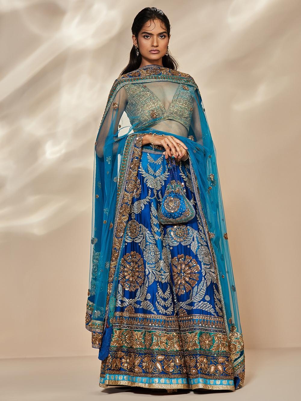 Royal Blue & Turquoise Saflower Embroidered Lehenga With Dupatta