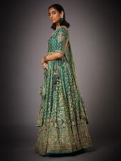 Khaki Green Jaya Zardozi Bridal Lehenga Set