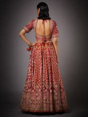 Red & Saffron Jaya Zardozi Bridal Lehenga Set