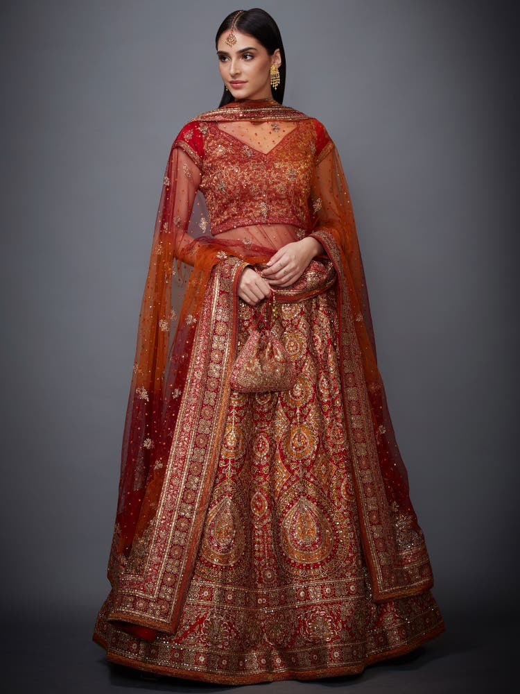 Red & Saffron Embroidered Lehenga Set
