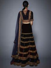 Sobhita Dhulipala in a Burgundy & Navy Velvet Lehenga Set