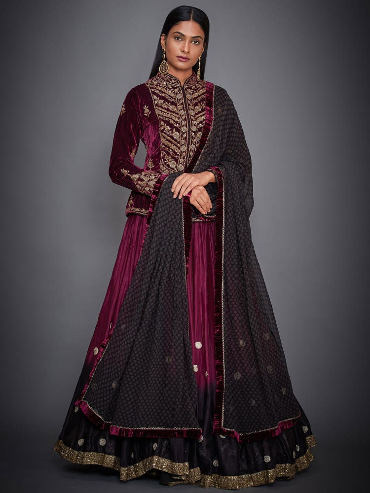 Burgundy & Black Velvet Lehenga Set
