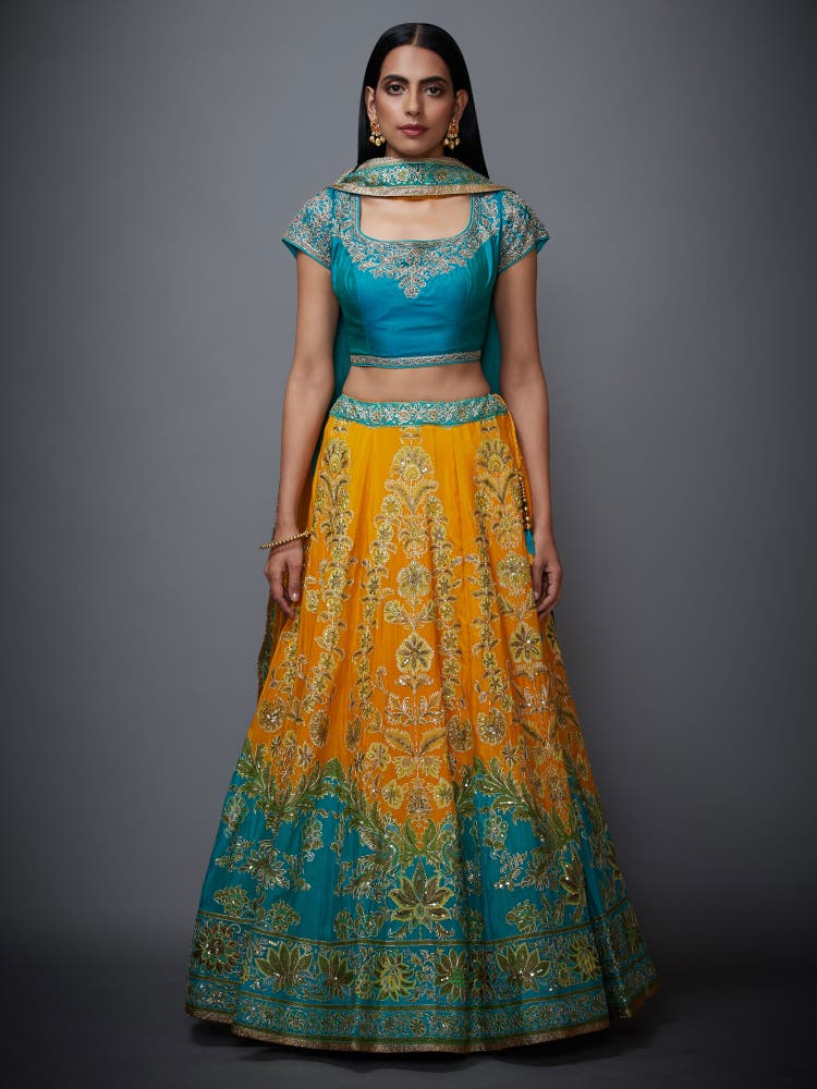 Yellow & Turquoise Embroidered Lehenga With Dupatta