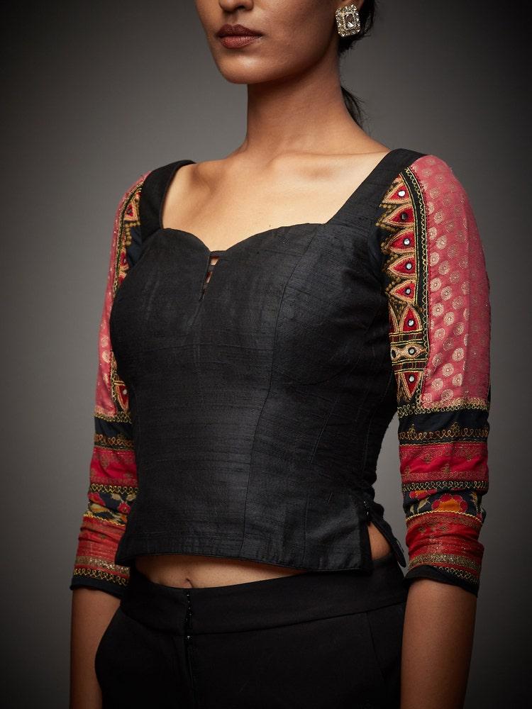 Black & Fuschia Mahek Embroidered Silk Blouse