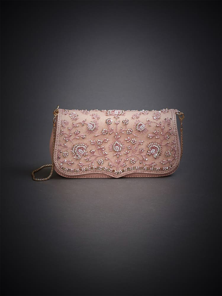 Pastel Pink Embroidered Sling Bag