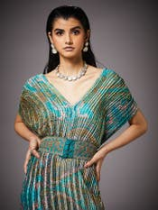 Aquamarine & Jade Ricka Jamawar Print Dress