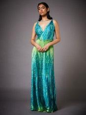 Lime Green & Turquoise Mandana Dress