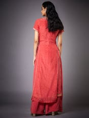 Coral & Gold Munar Embroidered Crepe Suit Set