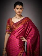 Fuchsia Madhuhira Silk Saree With Stitched Blouse
