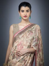 Beige Karen Printed Saree With Unstitched Blouse